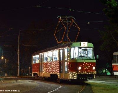Brno, osvětlení pro vánoční tramvaj